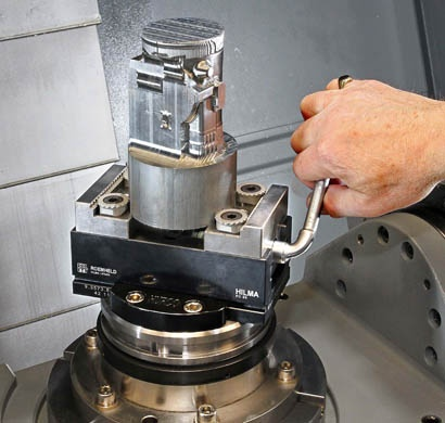 Vice holds cylindrical or prismatic parts for 5-axis machining